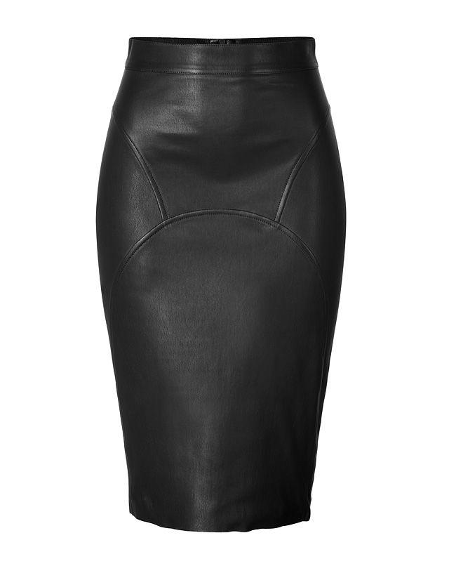 JITROIS Leather Pencil Skirt