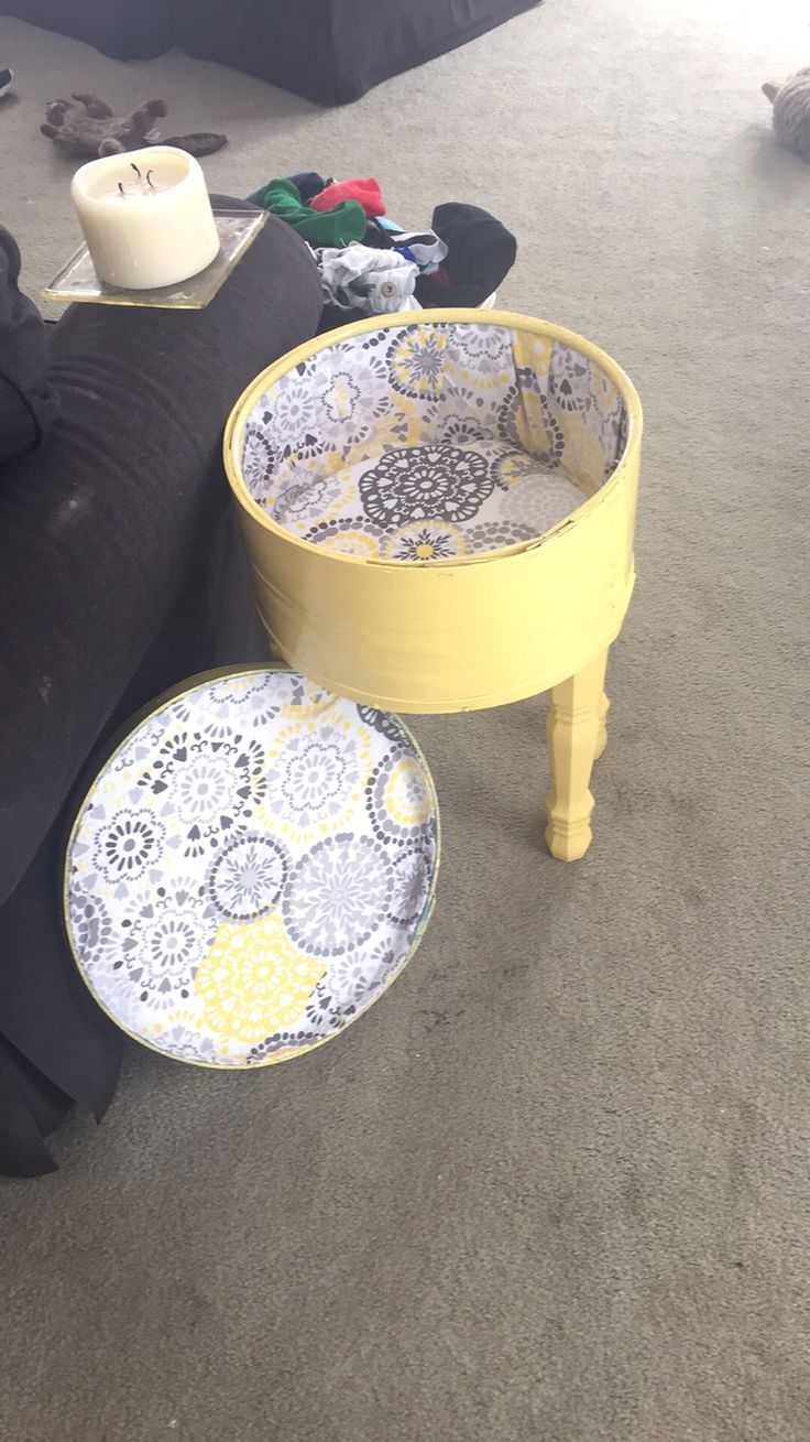 Antique cheese box flipped into an end table with storage
