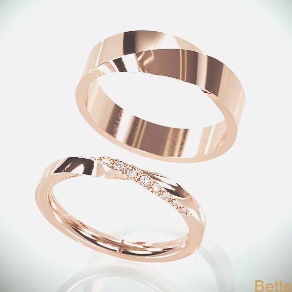 Sein und ihr Mobius Eheringset | Roségold Mobius Ehering besetzt mit Diamanten | …   – Hochzeit