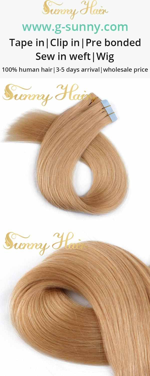 sunny hair caramel blonde tape in human hair extension. g-sunny.com