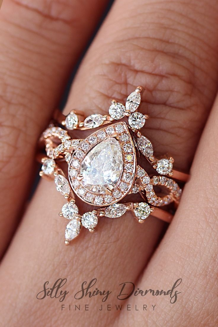 Pear Diamond Unique Wedding Ring Set Available In Rose Gold White Gold Yellow G In 2020 Victorian Engagement Rings Wedding Rings Teardrop Wedding Ring Sets Unique