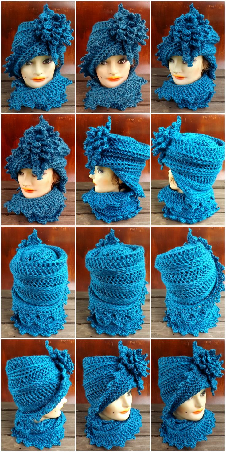 https://www.etsy.com/listing/119134487/crochet-hat-cowl-scarf-set-lauren Lauren Cloche and Scarf in Ocean Blue by strawberry couture on Etsy $50.00