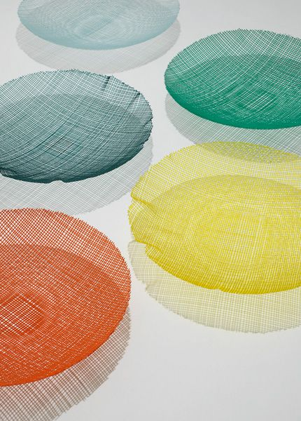 Belgian glass artist Klaar Prims essentially draws in glass, creating coloured strings that she can weave and melt together before moulding the entire form – in this case, into a glass bowl