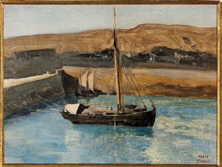 Jean Baptiste Camille Corot (1796-1875), A Fishing Boat, Honfleur c. 1830. Oil on paper laid down on ragboard. 23,2 x 31,1 cm. Harvard Art Museums/Fogg Museum, Cambridge. 1962.88.