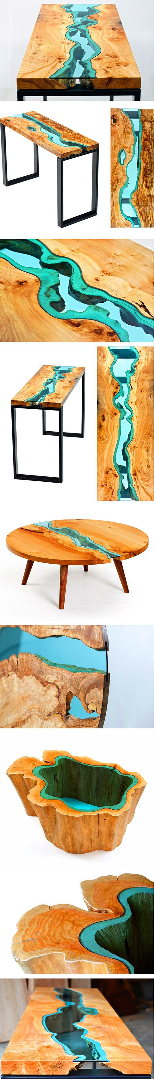 "Greg Klassen is a furniture maker in the Pacific Northwest who finds inspiration in its landscape and translates that into his work. His River Collection is a series of intricately designed and handcrafted tables that feature embedded, blueish-green glass ""rivers"" running throughout each piece. The naturally uneven edges of the wood and their vivid grains provide the perfect ""shore"" to mimic bodies of water."