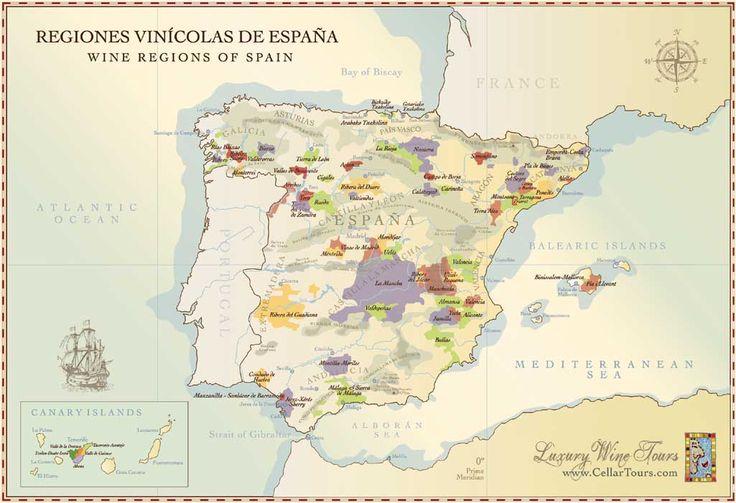 Spanish Wine Regions Map Courtesy of www.cellartours.com