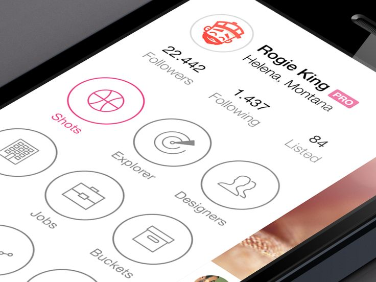 Slide menu for Dribbble app from Jordi Manuel