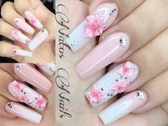 Uñas Acrilicas Aqua Con Rosa en 3D   Natos Nails - YouTube