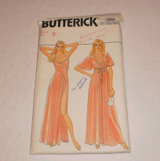 "Vintage Uncut, Peignoir Set Butterick Pattern #4669, Misses Robe & Nightgown, Size M, 12 - 14, EUR 40 - 42, Bust 41.5"" - 42"" (87 - 92cm) by TheShoppingMoll on Etsy"