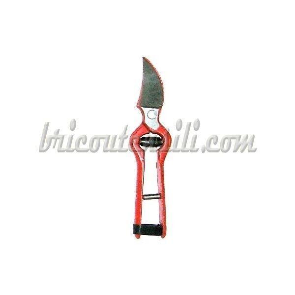 Forbice per vigneti cm. 18  Rossa Interamente realizzata in acciaio temprato - Chiusura di sicurezza con laccetto in cuoio