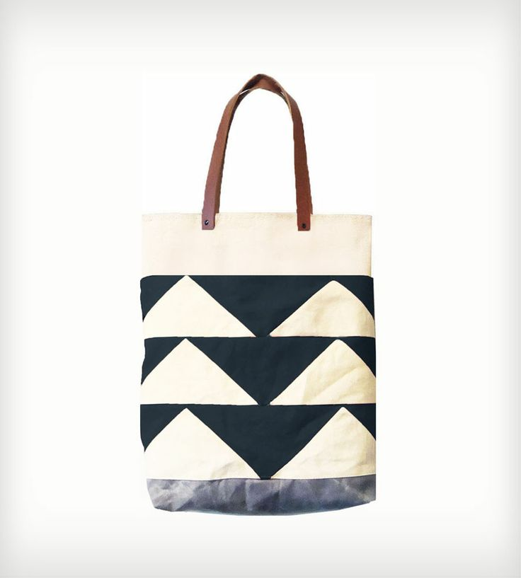 Leather  Canvas Bunting Triangle Tote Bag   This is such a beautiful tote!