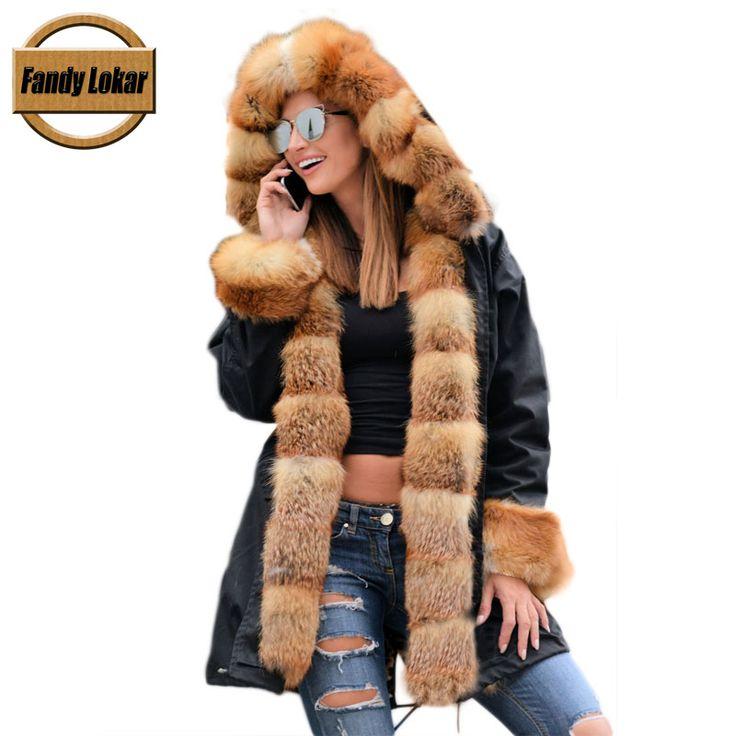 Fandy Lokar Реальные Шубы Для Женщин Red Fox Мех Вниз Coat Lining Меха Кролика пальто Водонепроницаемый Меховые Парки Для Женщин Зимой куртки