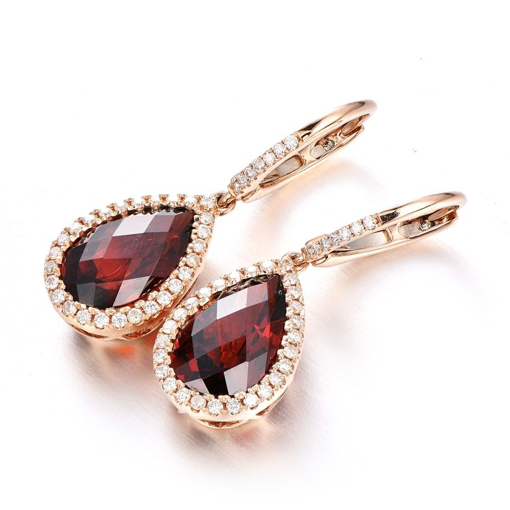 5.10 Ct. Garnet Diamond Earring 14KR