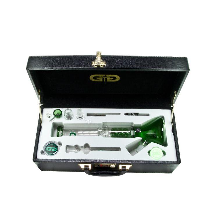 Grace Glass - Beaker Vapor Ice Bong with Spiral perc - Complete Set - Green