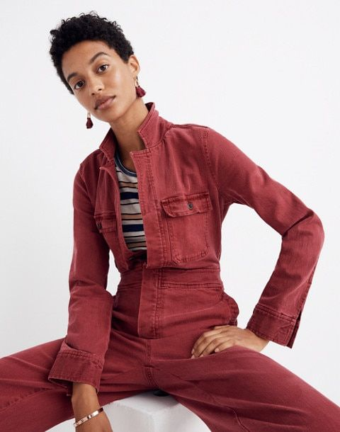932f8ec5516 Garment-Dyed Denim Slim Coverall Jumpsuit in dusty burgundy image 2 ...