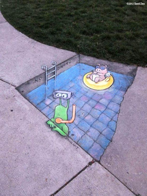 Chalk Street Art - David Zinn