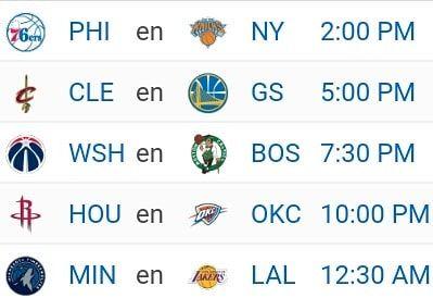 Partidazos navideños hoy: #Sixers vs. #Knicks en un juego de jóvenes revelaciones. #Cavs y #Warriors para ver a los dos mejores equipos de la liga. #Wizards contra #Celtics un partido que siempre despierta interés en el este. #Rockets visitan a #Thunder cuando veremos a los dos mejores jugadores de la #NBA. #Wolves vs. #Lakers en un partido lleno de prospectos en el oeste.