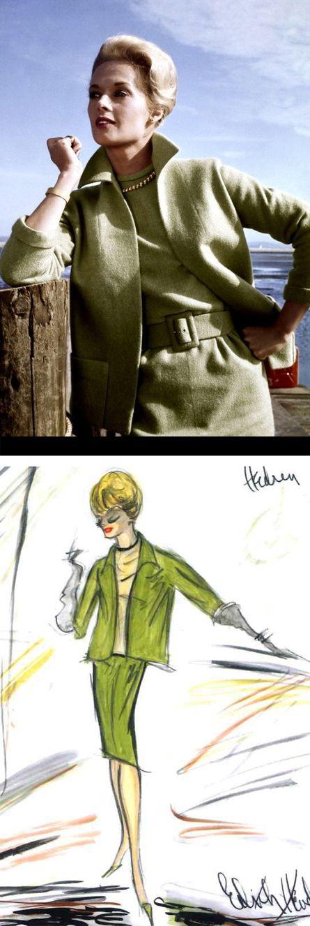 Tippi Hedren in 'The Birds' (1963). Costume Designer: Edith Head