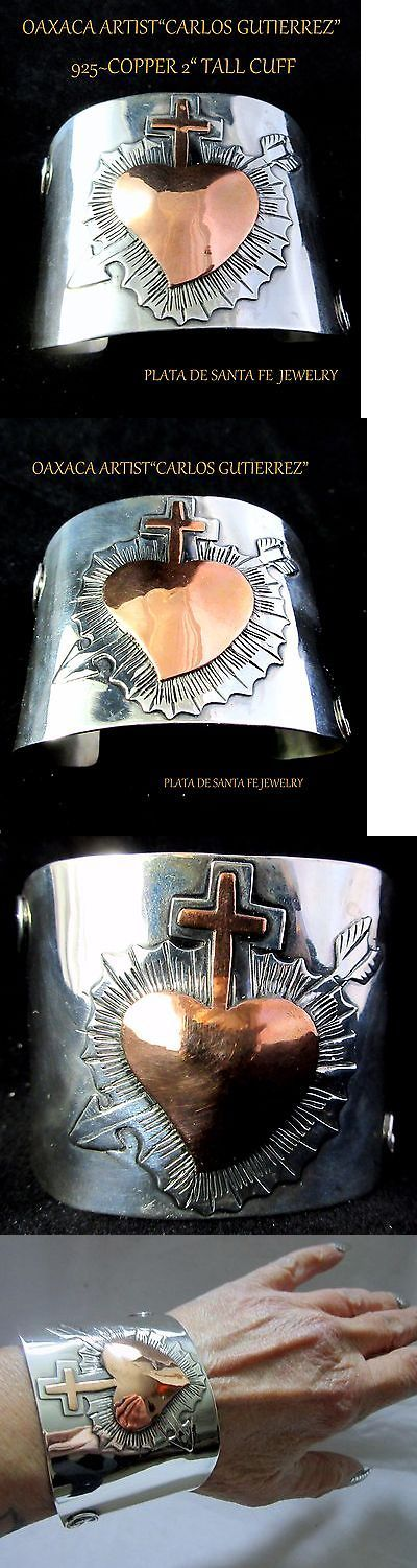 Mexican Latin American 52609: Oaxaca Artist ~Carlos Gutierrez ~Sacred Heart~ 925/Copper Contemporary Cuff 2 BUY IT NOW ONLY: $495.0