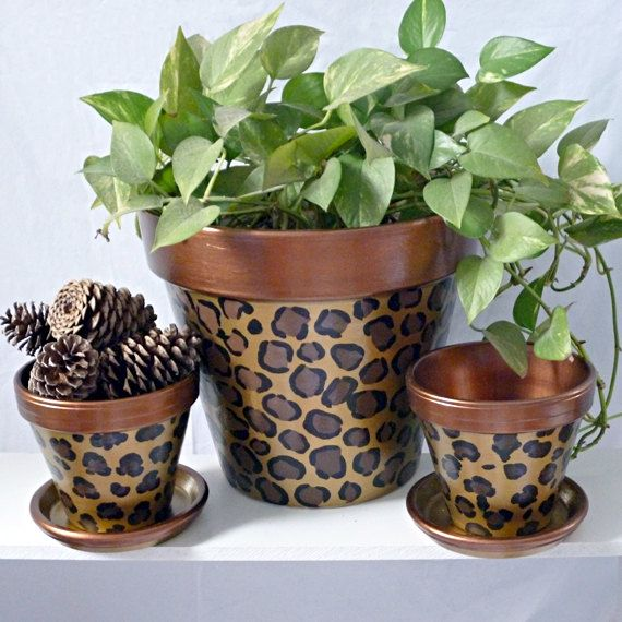Copper Leopard Hand Painted Flower Pot