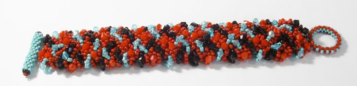Handmade Bead Woven Cuff Bracelet in Turquoise, Red and Black, Bead Woven Bracelet, Southwestern Style Bracelet by BeadsFromHaven on Etsy