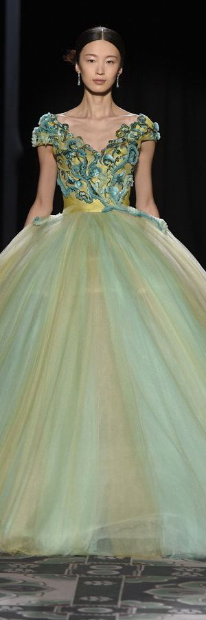 Laurence Xu ~ Couture Multi Green Embroidered Ball Gown, Spring 2015