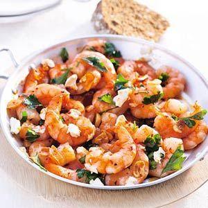 Reuzengarnalen met chili en witte kaas
