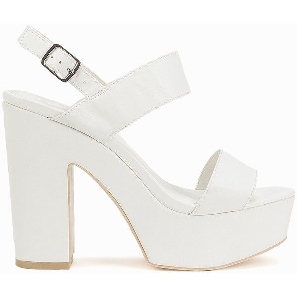 Nly Shoes Platform Chunky Sandal ($56) ❤ liked on Polyvore featuring shoes, sandals, zapatos, party shoes, white, womens-fashion, white strap sandals, wide sandals, strap sandals and high heel sandals