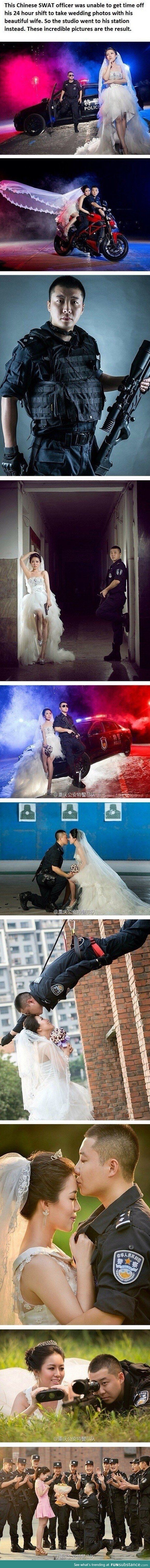 A police marriage photo shoot...Finally! A wedding shoot I could get into!