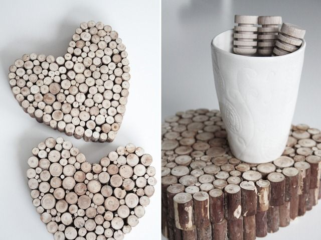 ♥: Diy Coasters, Crafts Ideas, Gifts Ideas, Diy'S, Heart Shape, Wine Corks Crafts, Wooden Hearts, Woods, Branches