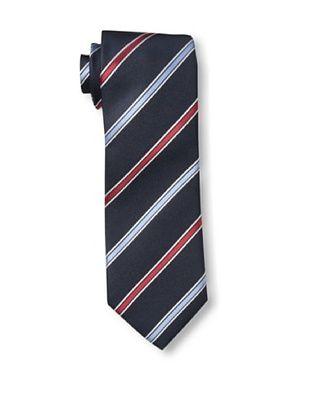 60% OFF Rossovivo Men's Striped Tie, Navy/Red/Light Blue
