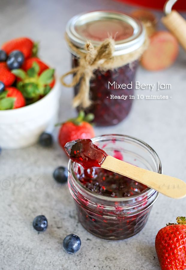 Mixed Berry Quick Jam - Just 4 simple ingredients & it's ready to enjoy in just 10 minutes - anyone can do it!! The taste- INCREDIBLE!  on kleinworthco.com