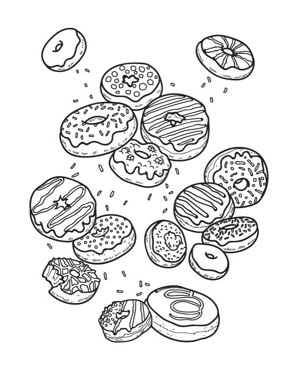 Donut Coloring Pages | Donut coloring page, Kids printable ...