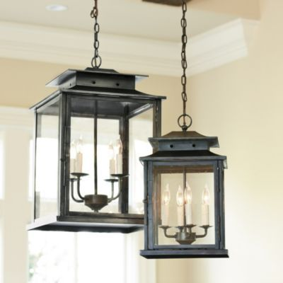 Calisse Pendant A classic choice to use over a table, in an entry hall or stairwell, this four light pendant offers a big look for a surprisingly small price. The tiered top and clear glass panes recall the romantic candlelit lantern fixtures of the 19th century.