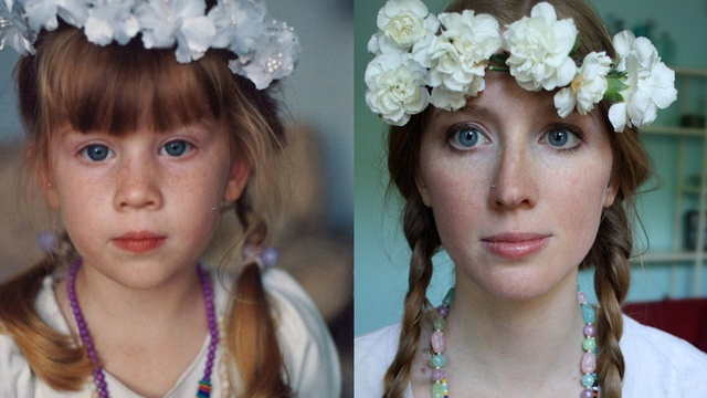 Childhood Photos, Recreated as Adults>>this is my favorite so far!  I love her coloring too.