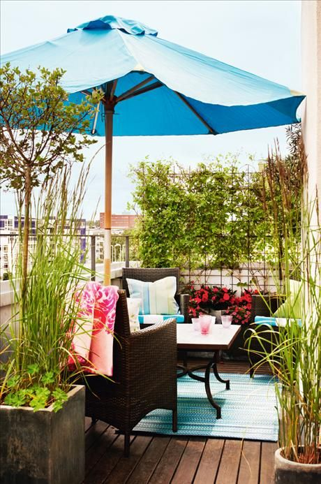 I like the matching rug, pillows, and umbrella. I also like the square pots, tall foliage, and rustic color of the pots