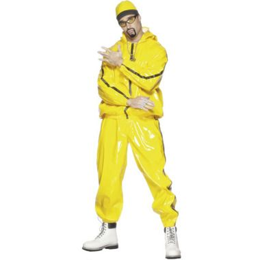 Talk to the hand, 'cos the face ain't listening.  Ali g in da house! Check out this amazing adult men's yellow shell pvc rapper suit with hooded jacket and matching elasticated waist trousers and hat. Accessorize with yellow herb warrior specs. Booyackasha!