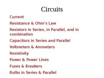 Circuits, Resistors, capacitors and More (Physics Presentation and Handout) #electricity #resistors #capacitors #lessons #MCAT