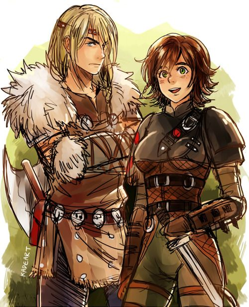 Genderbent Astrid and Hiccup from HTTYD  by kadeart. I don't know what to think about this.