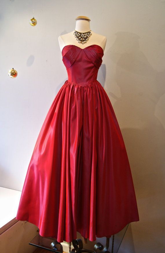 1950s Prom Dress // Vintage 50s Red Iridescent by