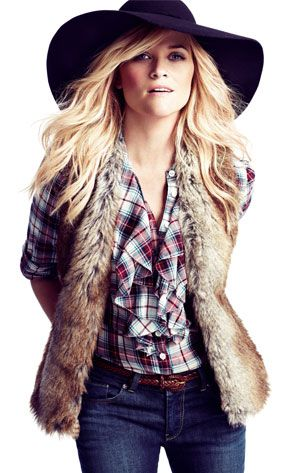 reese witherspoon: Hats, Fur Coats, Reese Witherspoon, Fall Style, Ree Witherspoon, Fall Outfits, Style Pinboard, Plaid Shirts, Fur Vest