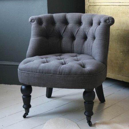Trianon Grey Button Back Linen Chair - this would look perfect in my office!.