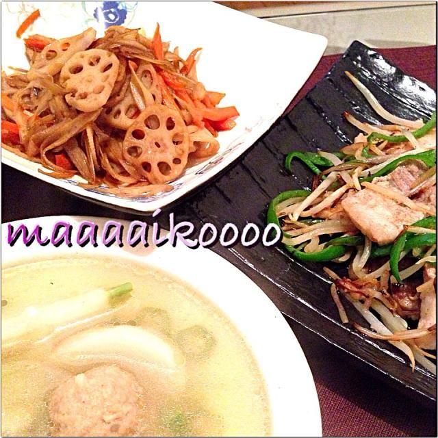 野菜が美味しいおつまみ達♡ - 12件のもぐもぐ - 金平牛蒡蓮根☆豚バラもやし炒め☆オクラと蕪と肉団子のスープ by maaaaikoooo