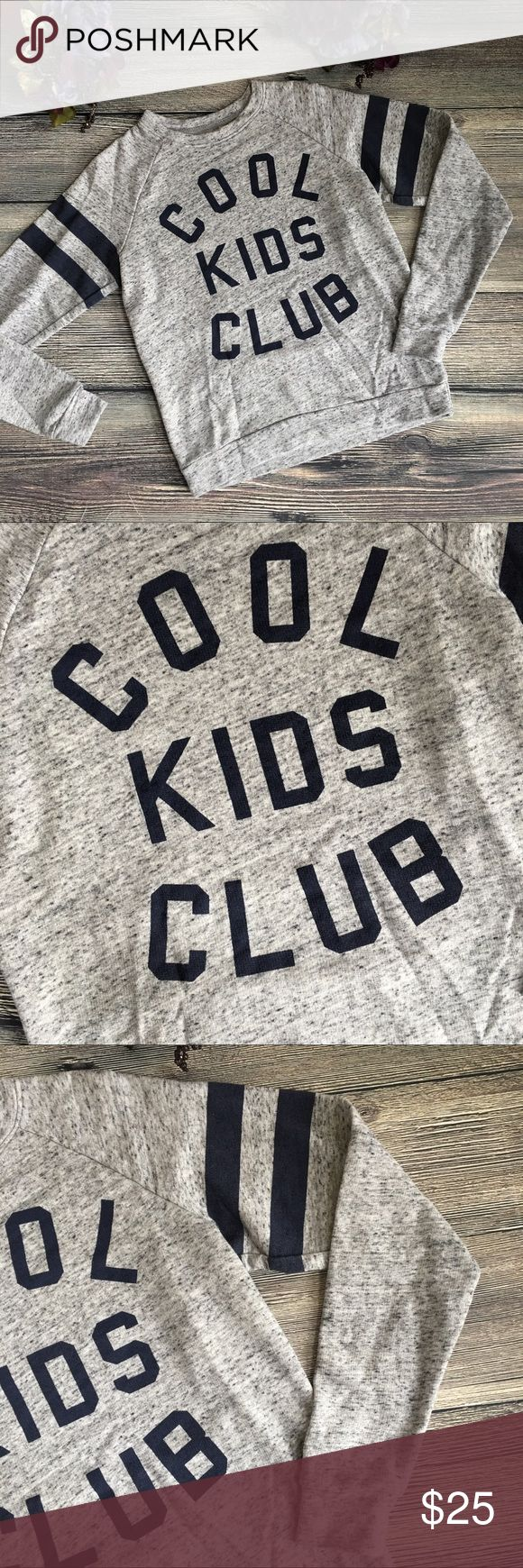 """Cool Kids Club Varsity Graphic Sweatshirt size S Meet Anniston. She's ready to show off your elite """"cool"""" status with her varsity stripes and collegiate lettering. Heather grey sweatshirt, navy graphics. From Mighty Fine, light cotton/poly blend. Machine washable. Size small (N1) Offers warmly welcomed. Mighty Fine Tops Sweatshirts & Hoodies"""