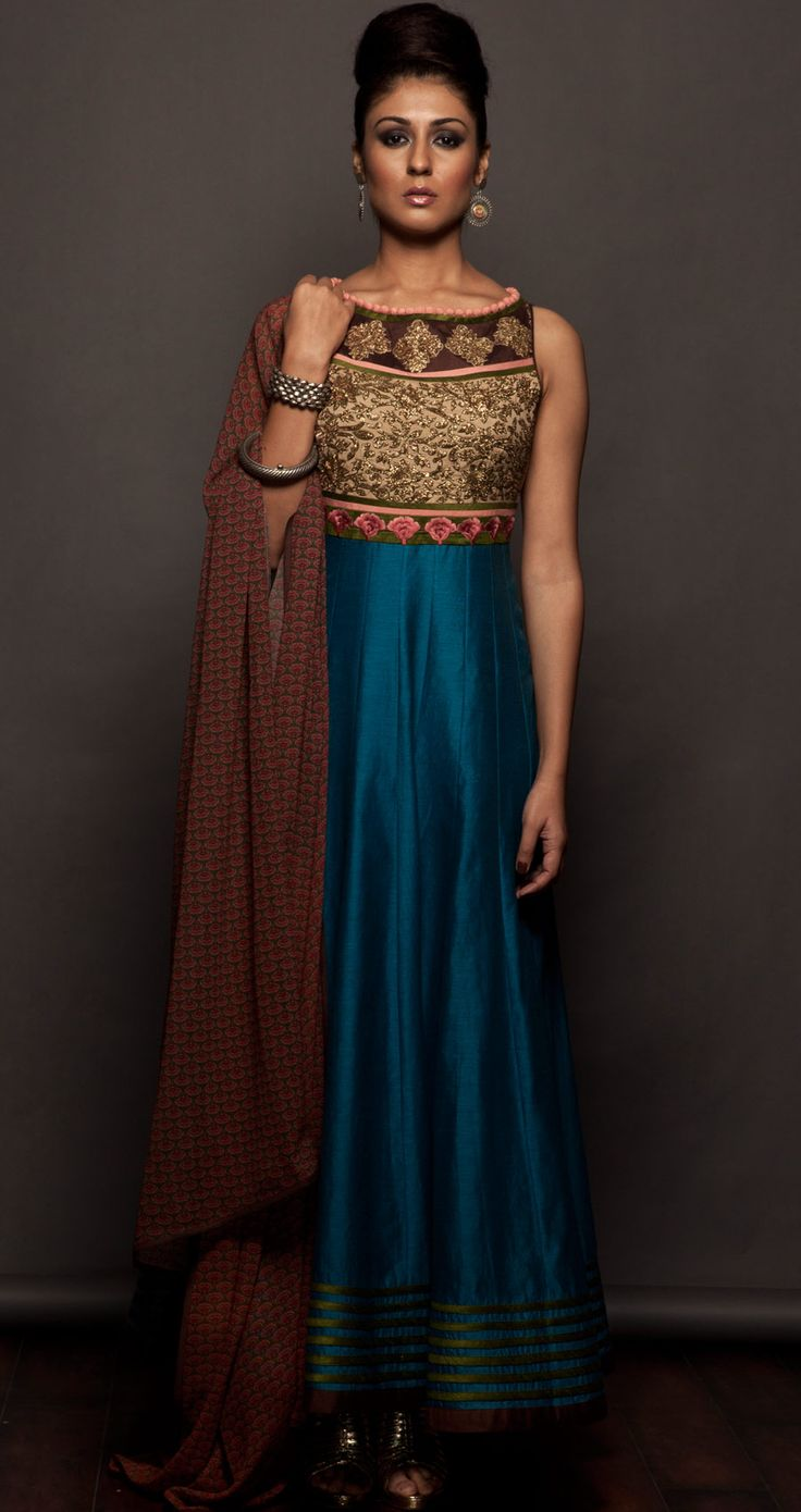 Blue anarkali set available only at Pernias pop-up shop.