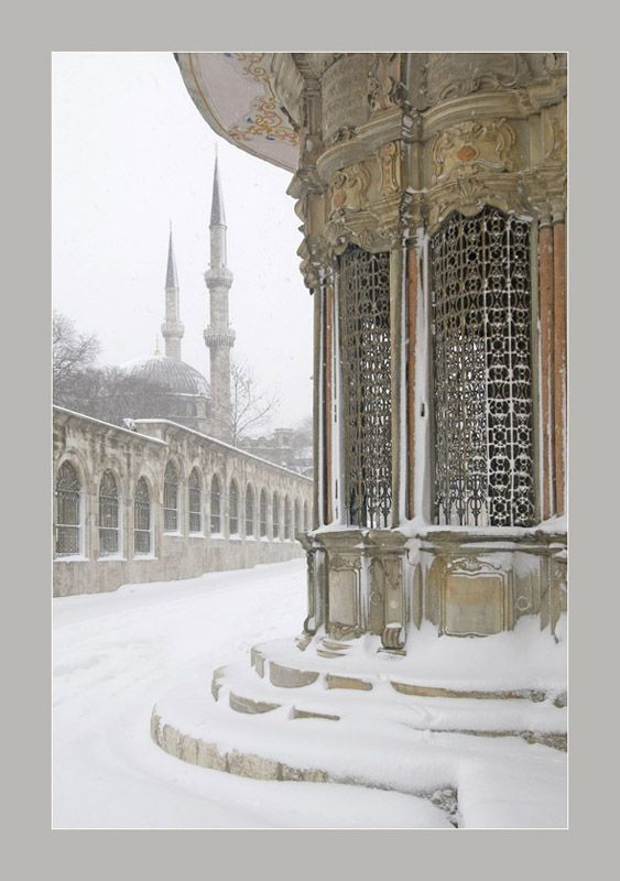 Eyüp streets in winter snow, Istanbul, Marmara_ Turkey