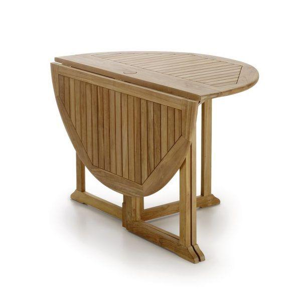Mesa redonda 2 alas plegables Jardin realizada en madera teka