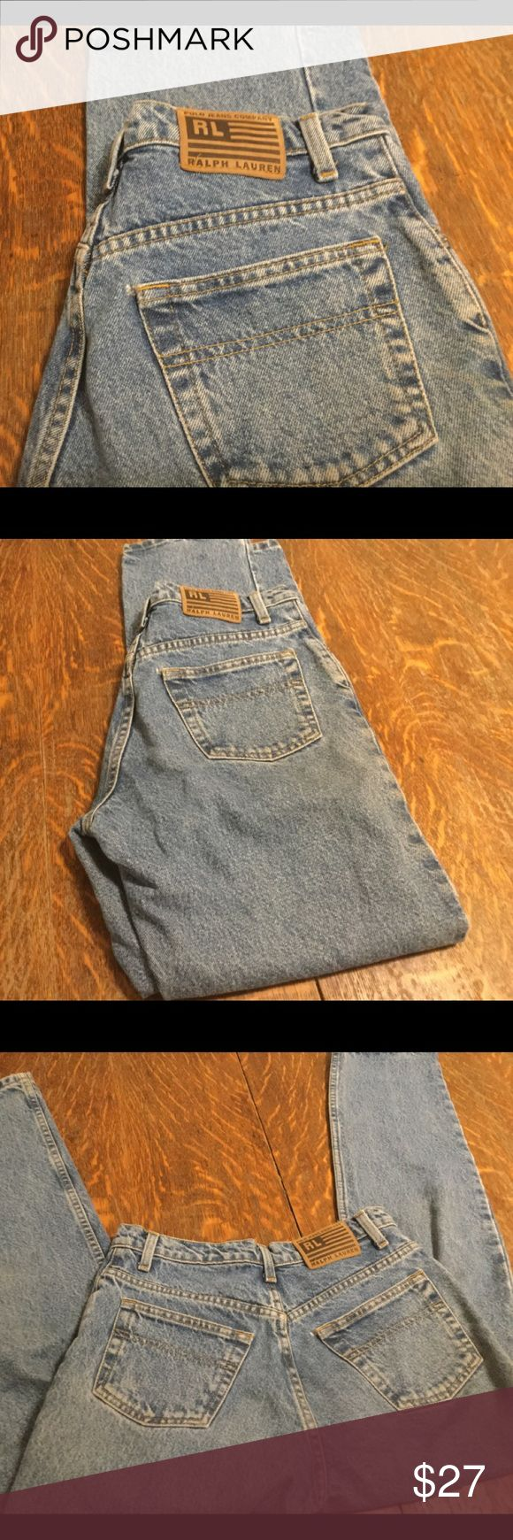 Ralph Lauren vintage woman's jeans size 6 x 31 These are older style, mom jeans possibly? Stone washed and some wear, please look closely. Took pics of back pocket where it seems as if there is a spot of wear but they are mainly in very good used condition size 6 x 31, relaxed fit. Ralph Lauren Jeans Straight Leg