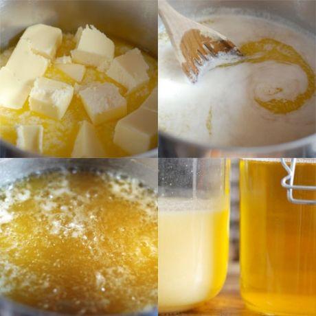 Ghee  O ghee - conhecido também como manteiga clarificada - é figura de destaque na medicina e na culinária indianas. Na cozinha, ele é usado principalmente para fritar, no lugar do azeite ou do óleo vegetal. O líquido amarelo é o produto de um processo de cozimento lento, onde toda umidade é evaporada e os resíduos sólidos se separam, formando uma espuma sob o líquido. Sua vantagem é a de suportar altas temperaturas, podendo ser aquecido até 90ºC, sem saturar ou queimar.