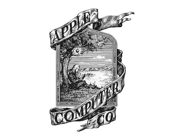 The original Apple logo from 1976. It was designed by co-founder Ronald Wayne.